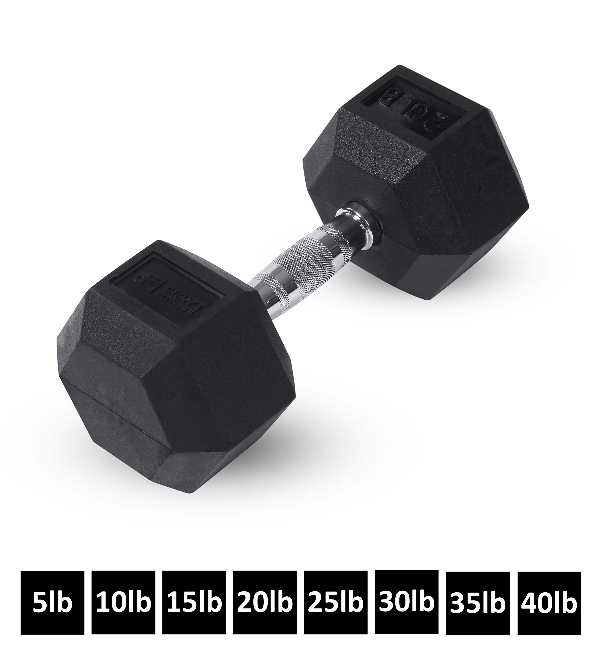 Day 1 Fitness Rubber Hex Dumbbell- 8, 5-40 Pounds - Shaped Heads to Prevent Rolling and Injury - Ergonomic Hand Weights for Exercise, Therapy, Building Muscle, Strength and Weight Training