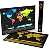 Focal Point World Scratch Off Travel Map - Deluxe Gold Foil Edition - Large Personalized Traveler's Tracker Wall Poster with Flags - Track the Places You've Been and Countries Traveled