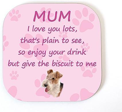 Fil Fox Terrier I Love You Mum Amusant Avec Poème Sous