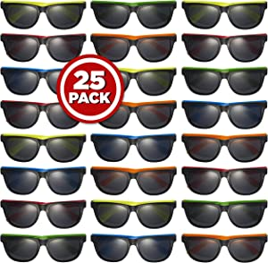 Prextex 25 Pack UV Protected Neon Sunglasses Assorted Neon Colored Perfect Kids Party Favors Toy Glasses