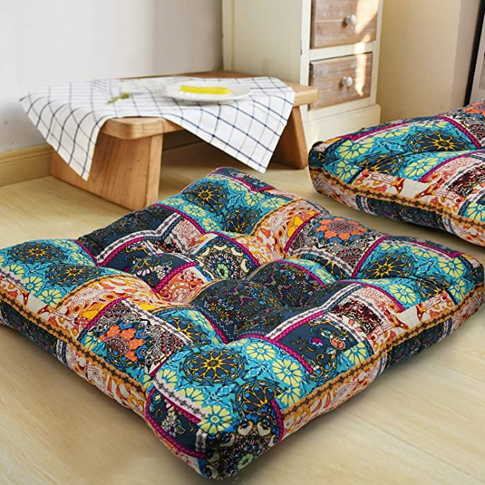 HIGOGOGO Turquoise Meditation Pillow for Floor, Square Bohemian Mandala Cotton Linen Indian Style Cushion Pillow for Yoga Living Room Balcony Kids Playing Room Party Outdoor Decoration, 22x22 Inch