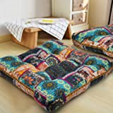 HIGOGOGO Turquoise Meditation Pillow for Floor, Square Bohemian Mandala Cotton Linen Indian Style Cushion Pillow for Yoga Liv