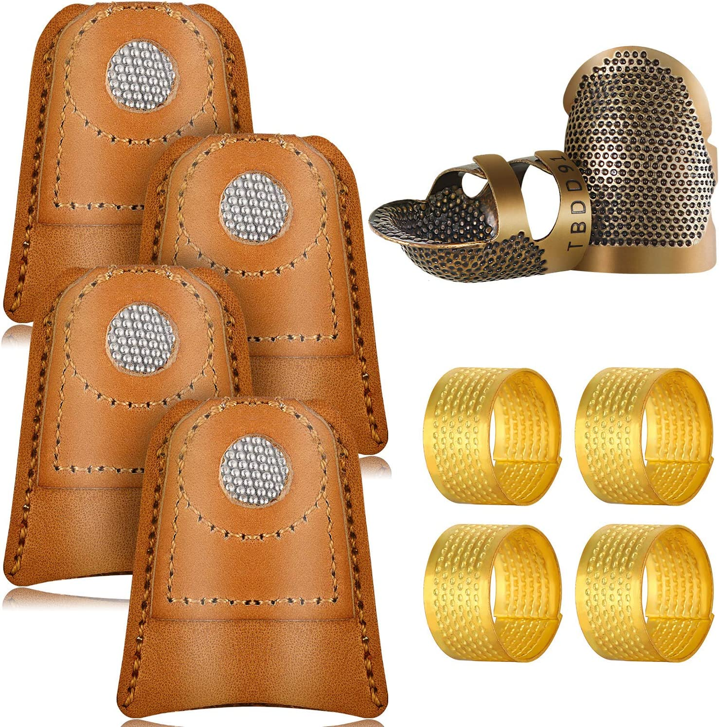ARTIBETTER 10pcs Sewing Thimble Finger Protector Leather Thimble Finger Pads Coin Thimble Protector for Knitting Sewing Quilting Random Color