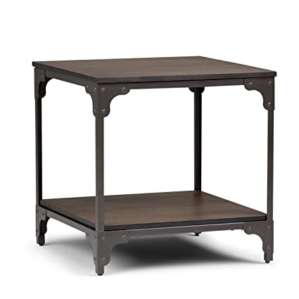 0ecd88176109e Amazon.com  Simpli Home 3AXCNTT-03 Nantucket Solid Mango Wood and Metal 21 inch  wide Square Modern Industrial End Side Table in Walnut Brown  Kitchen   ...