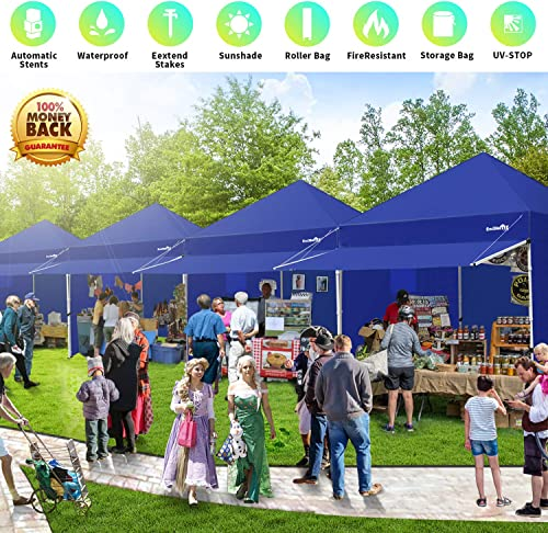 Canopy Tent 10 x 10 Heavy Duty Pop-up Instant Shelters Outdoor Commercial Portable Canopy Tent Market Canopies Sidewalls Weight Bags Roller Bag Net Wall Canopy Awning Storage Bag Canopy Blue