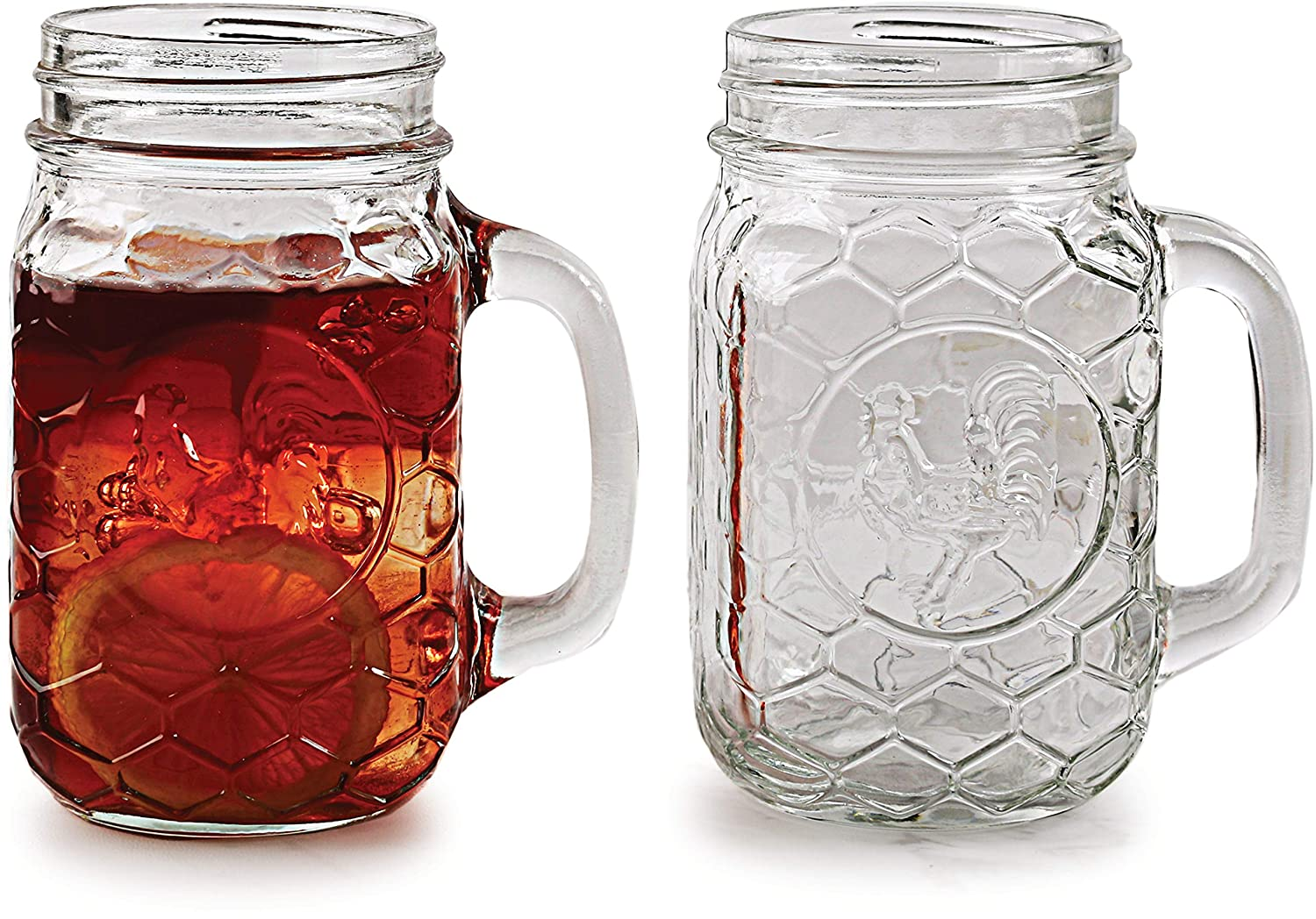 Circleware Rooster Mason Jar Mugs Drinking Glasses, Set of 4, Entertainment Glassware for Water, Juice, Beer Bar Liquor Dining Decor Beverage Cups Gifts, 17.5 oz