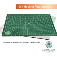 (14x14, Green) - Calibre Art Rotating Self Healing Cutting Mat, Perfect for Quilting & Art Projects, 14x 14 (33cm Grid)