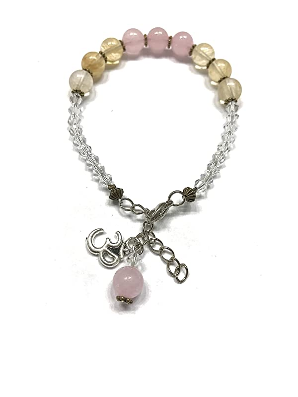 Third Eye Heart Crystal Accents and Ohm Charm Natural Rose Quartz and Natural Citrine Bracelet Throat Sacral and Solar Plexus Chakra Balance.