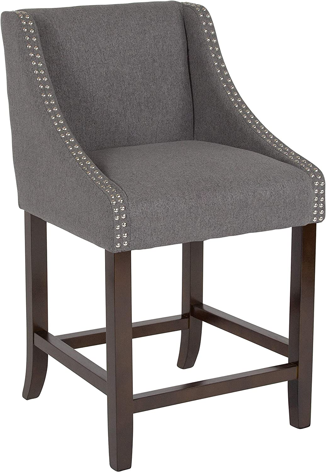 "Flash Furniture Carmel Series 24"" High Transitional Walnut Counter Height Stool with Accent Nail Trim in Dark Gray Fabric"