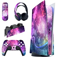 PlayVital Purple Galaxy Full Set Skin Decal for PS5 Console Disc Edition, Sticker Vinyl Decal Cover for Playstation 5…