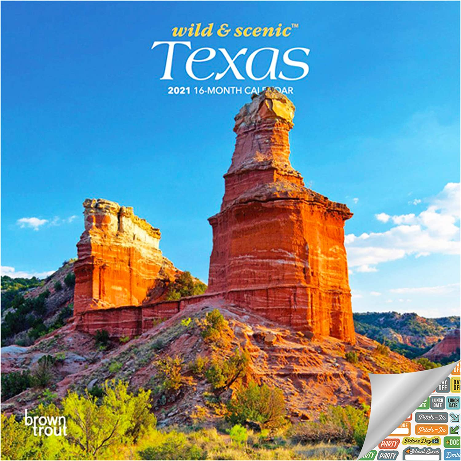 Texas Wild & Scenic Calendar 2021 Bundle - Deluxe 2021 Lone Star State Mini Calendar with Over 100 Calendar Stickers (Texas Nature, Office Supplies)