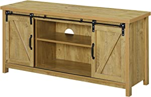 Convenience Concepts Blake Barn Door TV Stand, English Oak