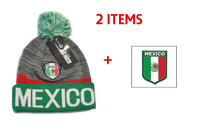 メキシコビーニーポンポン付きフラグサッカーキャップ帽子冬Fittedニットビーニー B077PHJS88グレー