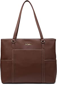 NNEE Classic Laptop Leather Tote Bag for 15 15.6 inch Notebook Computers Travel Carrying Bag with Smart Trolley Strap Design - Dark Brown
