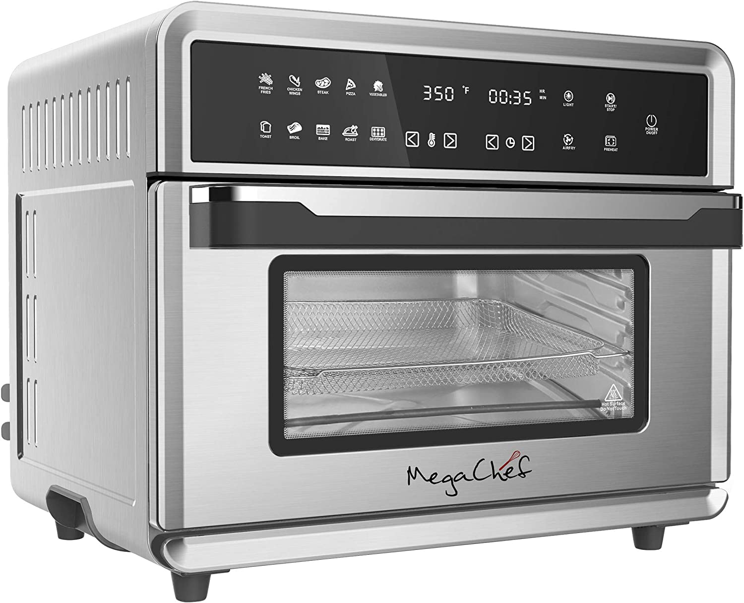 Megachef 10 in 1 Electronic Multifunction 360 Degree Hot Air Technology Countertop Oven, Silver Chrome, 25 Liter Capacity