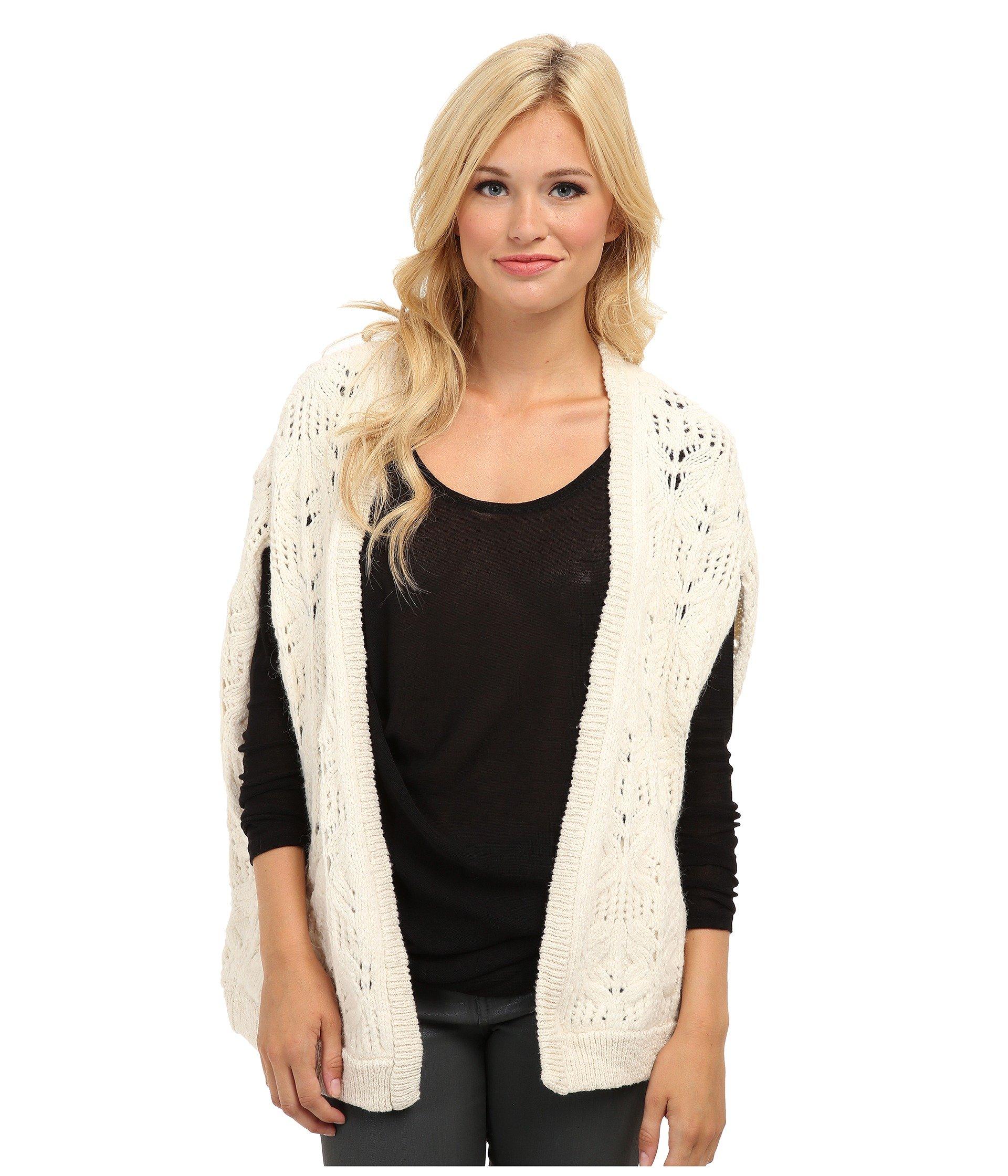 free people Women's Ivory Leaf Knit Pattern Vest, S
