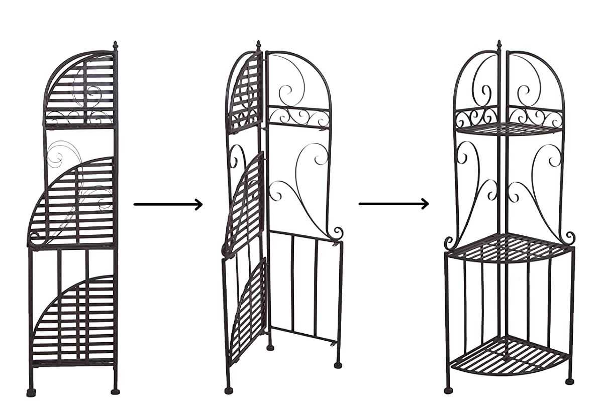 VILAVITA 3 Tier Folding Metal Corner Shelf Indoor Plant Stand Bakers Rack