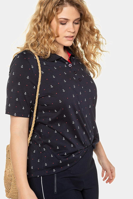 Pima Cotton Ulla Popken Damen gro/ße Gr/ö/ßen Poloshirt Ankerprint Classic T-Shirt