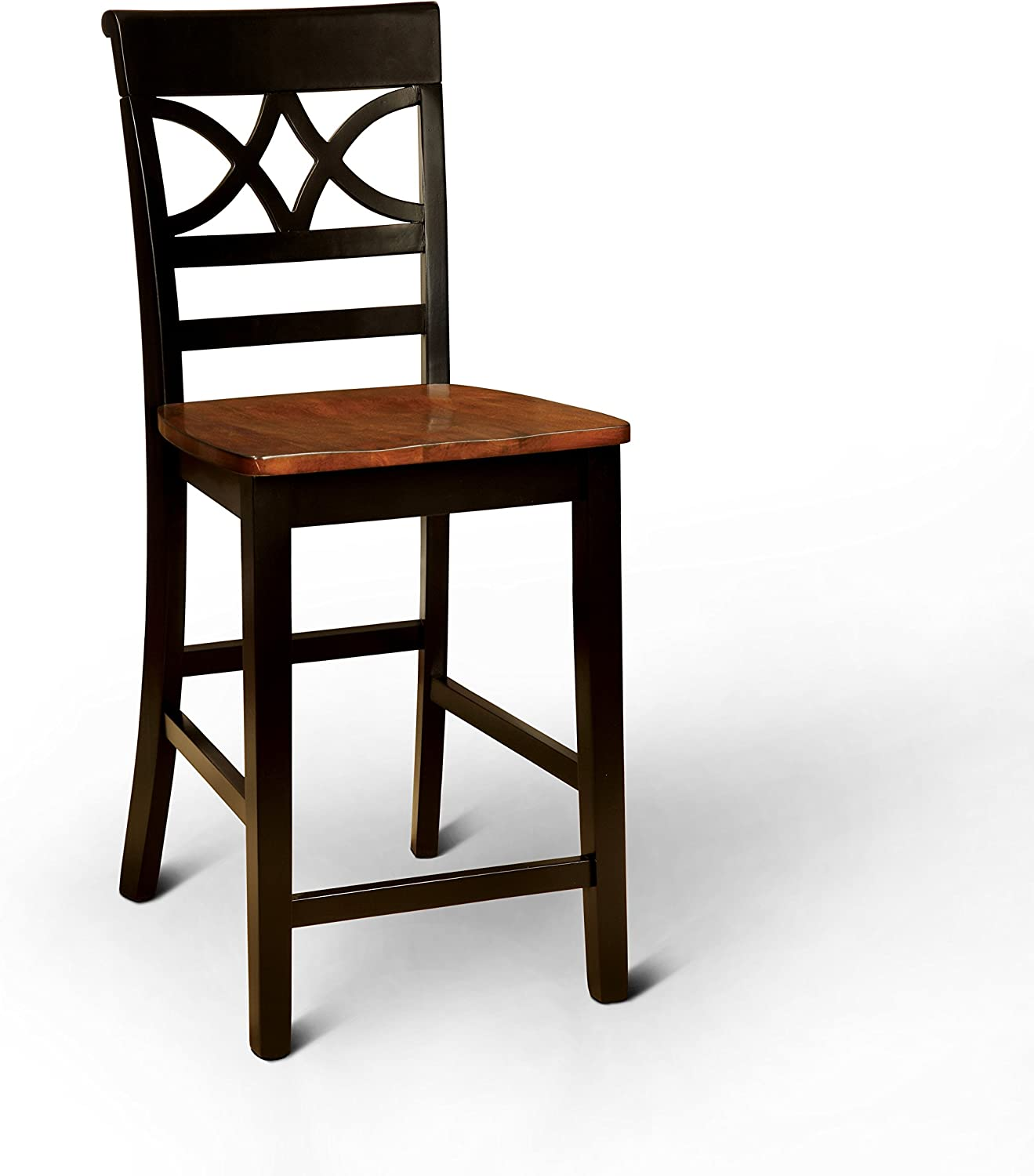 Furniture of America Cherrine Country Style Pub Dining Chair, Oak/Black, Set of 2
