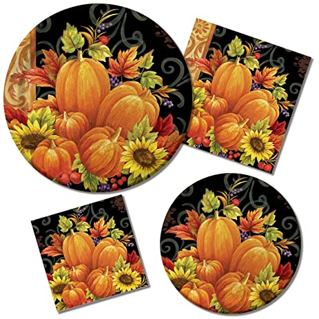 Tableware Kit for 16 Guests Paper Plates and Napkins Pumpkin Tapestry  sc 1 st  Amazon.com & Amazon.com: Tableware Kit for 16 Guests Paper Plates and Napkins ...