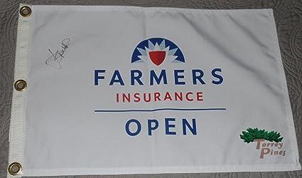 Jordan Spieth Signed Auto Farmers Insurance Open Flag Coa Y01758