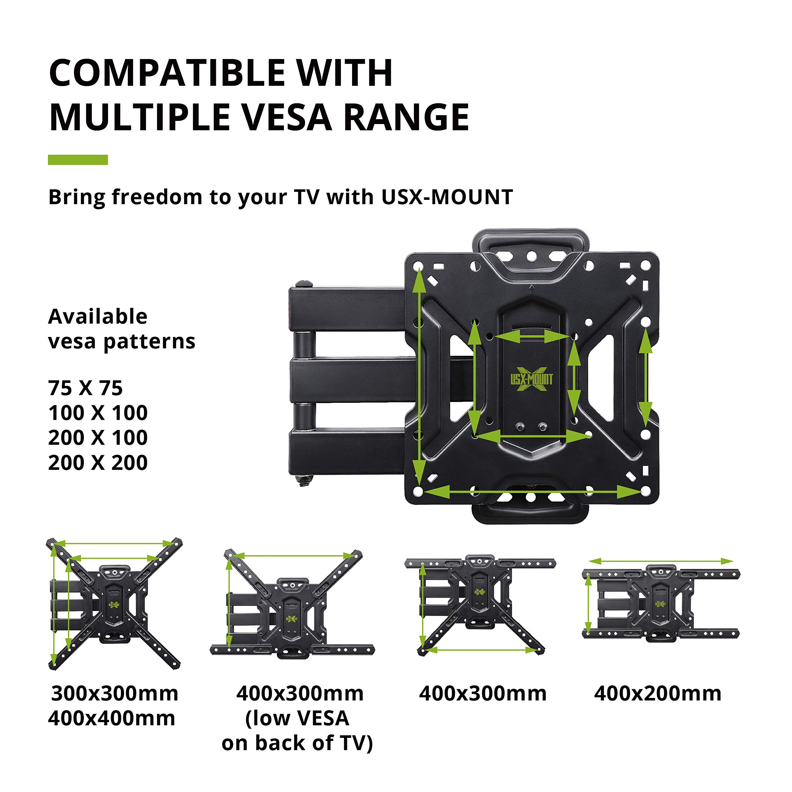 USX MOUNT Full Motion Swivel Articulating Tilt TV Wall Mount Bracket for 26-55'' LED, OLED, 4K TVs-Fit for 32, 40, 50 TV with VESA Up to 400x400mm-Weight Capacity Up to 60lbs by USX MOUNT (Image #2)