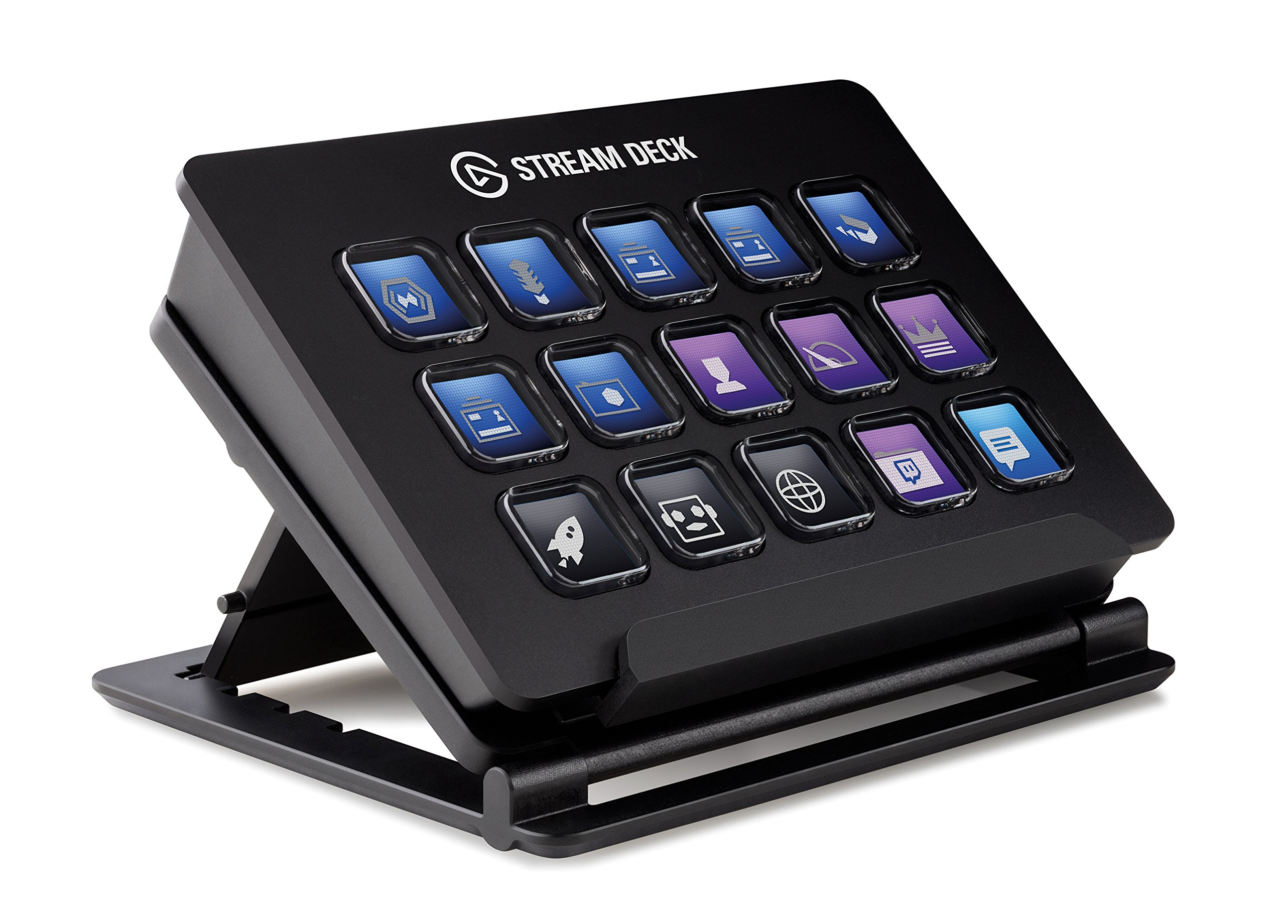 Elgato Stream Deck - Live Content Creation Controller with 15 customizable LCD keys, adjustable stand, for Windows 10 and macOS 10.11 or later by Elgato