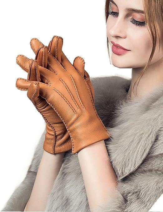YISEVEN Damen Lederhandschuhe aus Hirschleder mit Lammwolle Futter von Handgen/äht