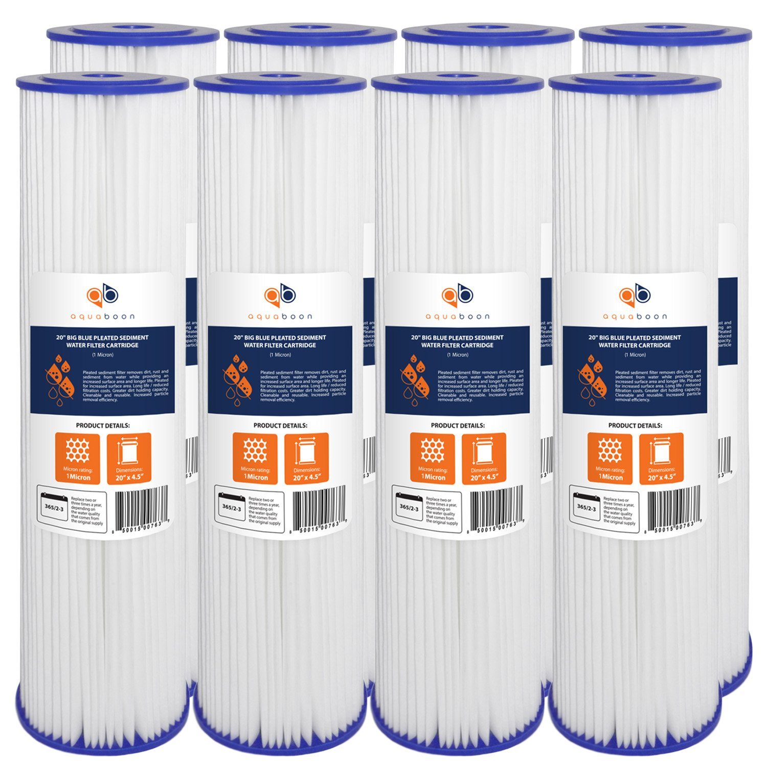 8-PACK Of 1 Micron Big Blue 20'' x 4.5'' Pleated Washable Sediment Water Filter Cartridge by Aquaboon