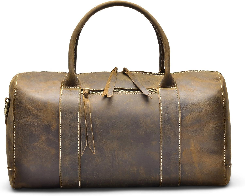H lssen Genuine Leather Overnight Weekender Travel Sport Duffel Bag