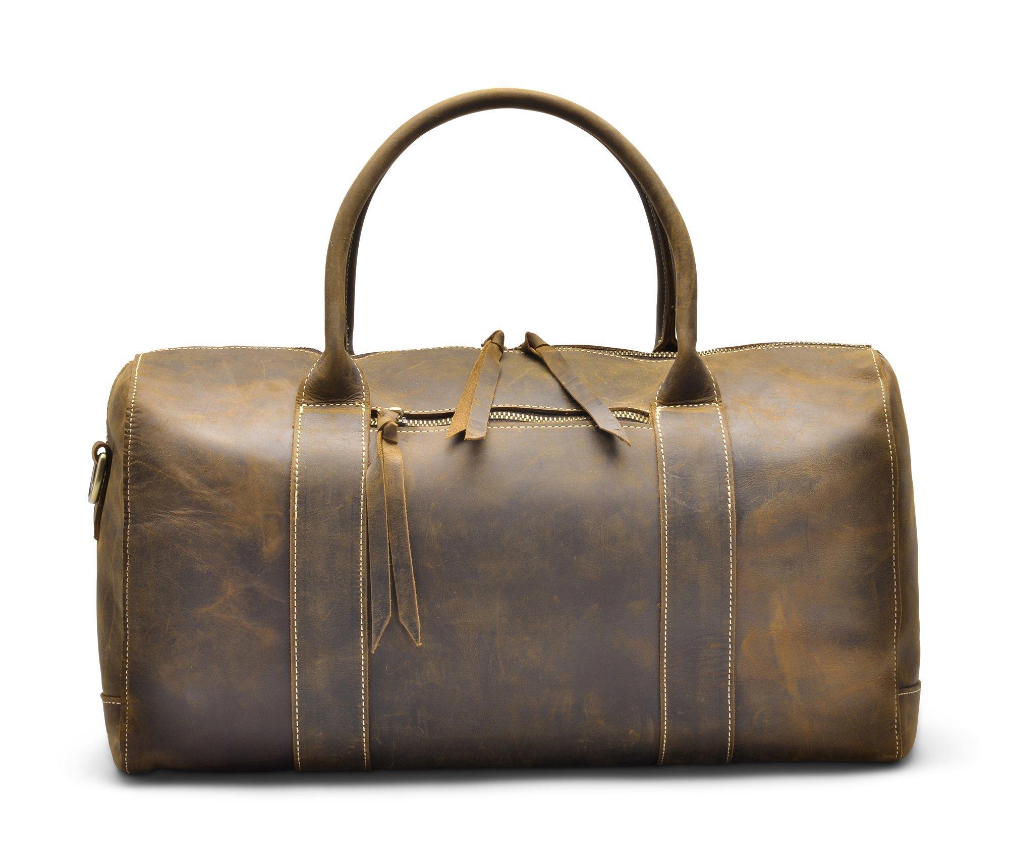 Hølssen Genuine Leather Overnight Weekender Travel Sport Duffel Bag