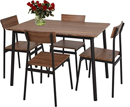 Amazon Com Luckyermore 5 Piece Dining Table Set Rustic Wooden Kitchen Table And Chairs For 4 Dinette Sets For Small Spaces Table Chair Sets