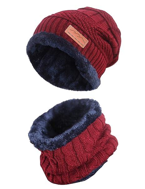 MissShorthair Slouch Beanie Winter Hat Scarf Set for Women(Knit Hat ... 15586e461cc1
