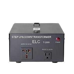 ELC T-2000UD T-2000+ 2000-Watt Voltage Converter Transformer - Step Up/Down - 110V/220V - Circuit Breaker Protection -Heavy Duty