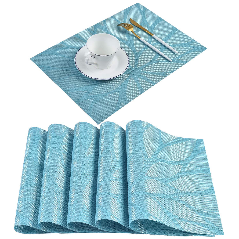 (6, Blue) - Borlan PVC Placemats Woven Vinyl Place Mats Heat-resistant Stain-resistant Table Mats Set of 6(Blue) 6 ブルー B01M8JBN8S