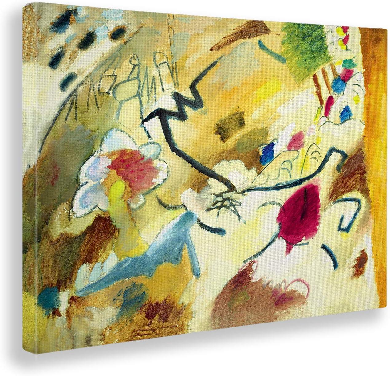 Giallobus - Cuadro - Kandinsky - Improvisación con Caballos - Estampado en Lienzo - Listo para Colgar - Varios tamaños - 70x50 cm
