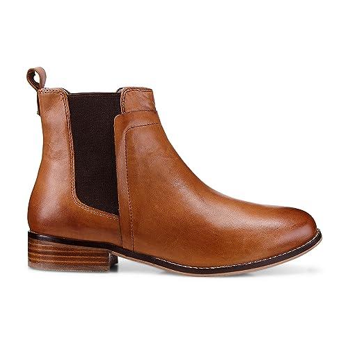 san francisco 267ed 9f7dd Cox Damen Damen Chelsea Boots, brauner Leder Stiefel mit rutschhemmender  Gummi-Laufsohle