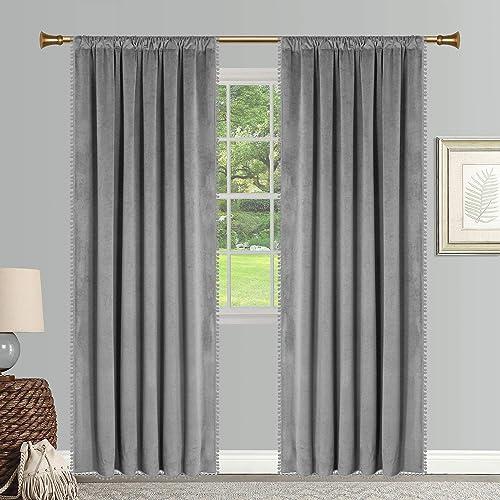 SNITIE Pom Pom Velvet Curtains