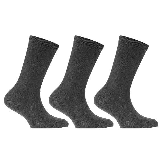 Severyn Calcetines de algodón para uniforme de colegio unisex para niños (3 pares) (