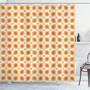 "Ambesonne Geometric Shower Curtain, Linked Bold Geometric Shapes 70s Vintage Minimalist Pattern Bohemian Design, Cloth Fabric Bathroom Decor Set with Hooks, 70"" Long, Orange Cream"