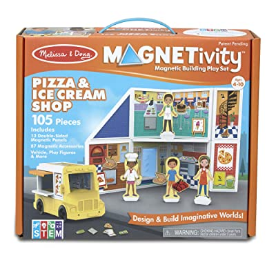 Melissa & Doug Magnetivity Magnetic Tiles Building Playset – Pizza & Ice Cream Shop w/Food Truck Vehicle (105 Pieces, STEM Toy): Toys & Games [5Bkhe1907423]