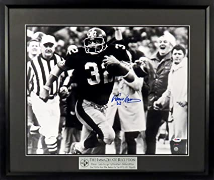 "fad3ad1f3cd Pittsburgh Steelers Franco Harris Autographed ""Immaculate Reception"" 16x20  Photograph w  Floating Plate Framed"