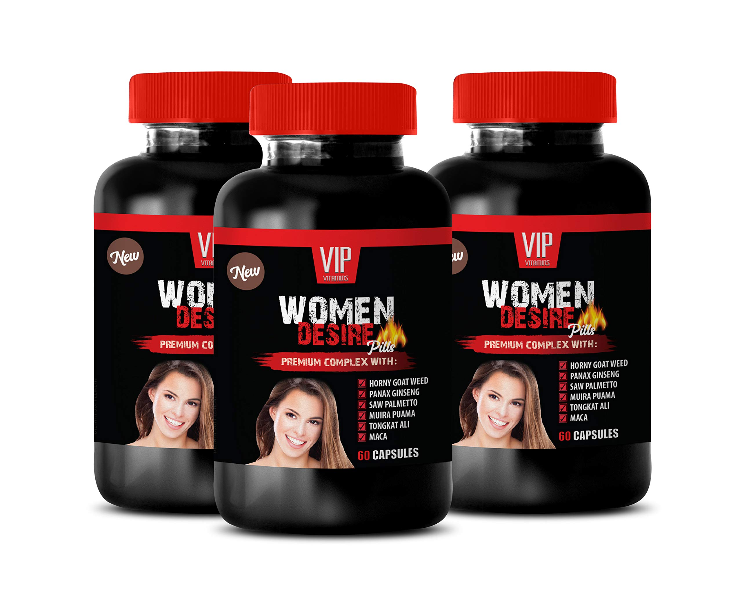 Energy Vitamins for Adults - Women Desire Pills - Premium Complex - maca Root high Strength - 3 Bottles 180 Capsules by VIP VITAMINS