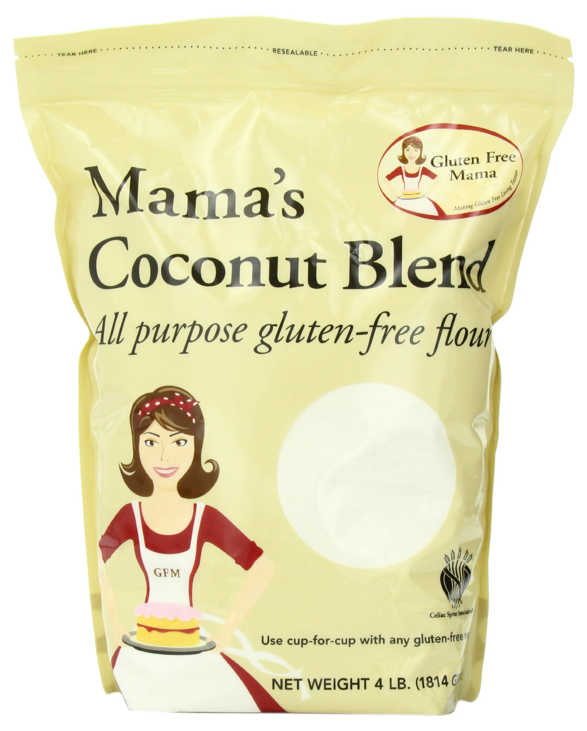 Gluten Free Mama, Mama's Coconut Blend Flour, All Purpose Flour Mix, 4 Pounds (Pack of 2)