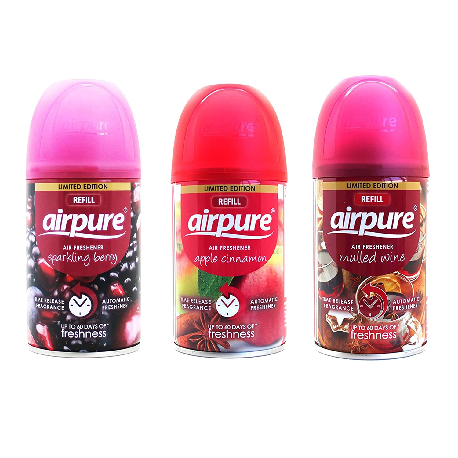 3 X AIRPURE FRESHMATIC AUTOMATIC SPRAY REFILLS 250 ML CHRISTMAS MIX AIRWICK COMPATIBLE