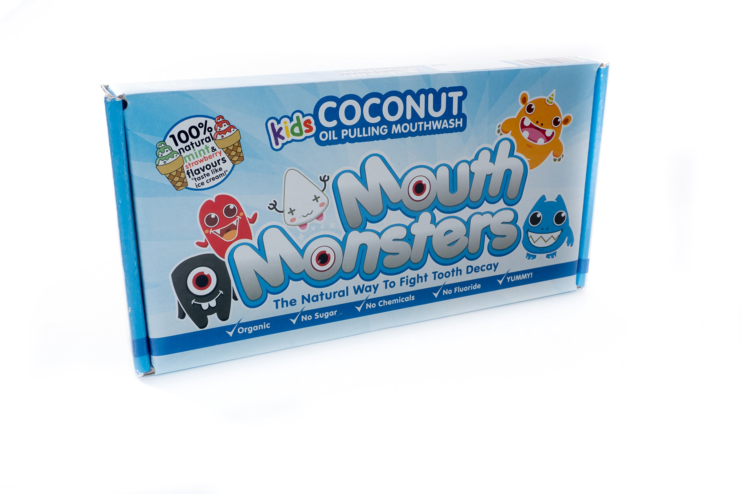 MouthMonsters Detoxifying Ayurvedic Coconut Oil Pulling Mouthwash For Kids Of All Ages – Mild Mint & Strawberry - Organic & 100% Natural.