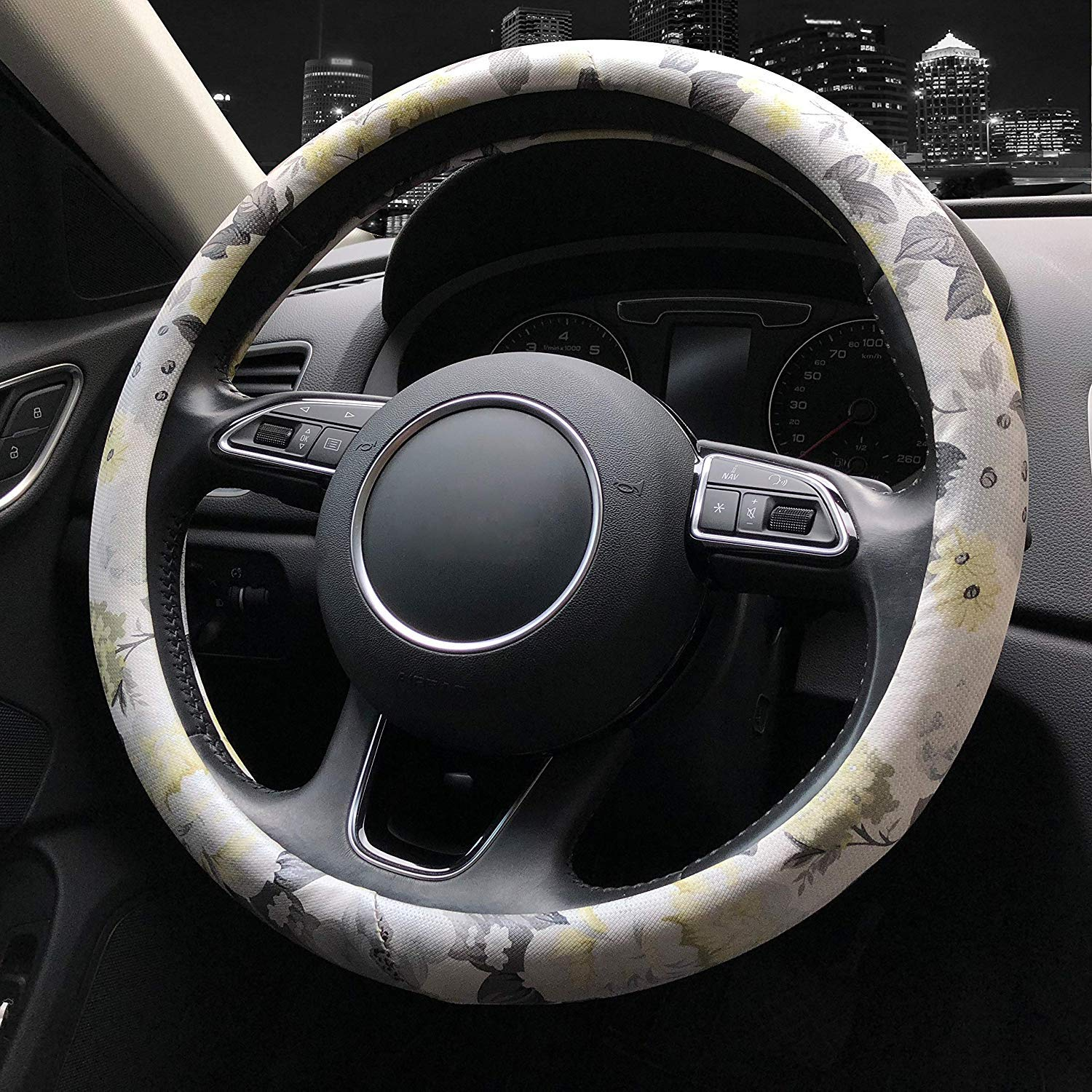 Bronkey Car Steering Wheel Cover for Women 15 Ethnic Style F Anti Slip PU Leather Wheel Covers