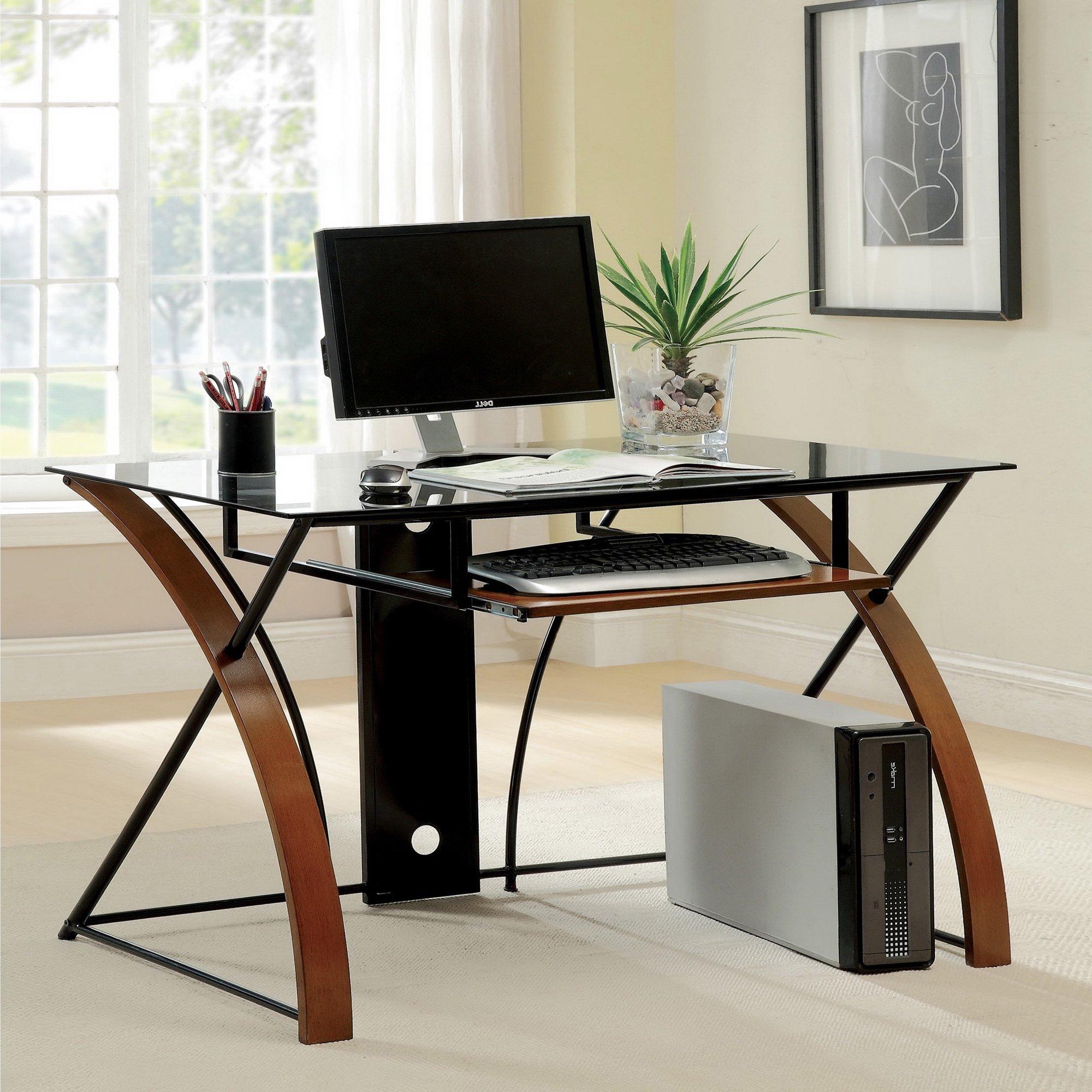 Metro Shop Furniture of America Sirga Modern Grey Tempered Glass Computer Desk-Oak & Black Finish