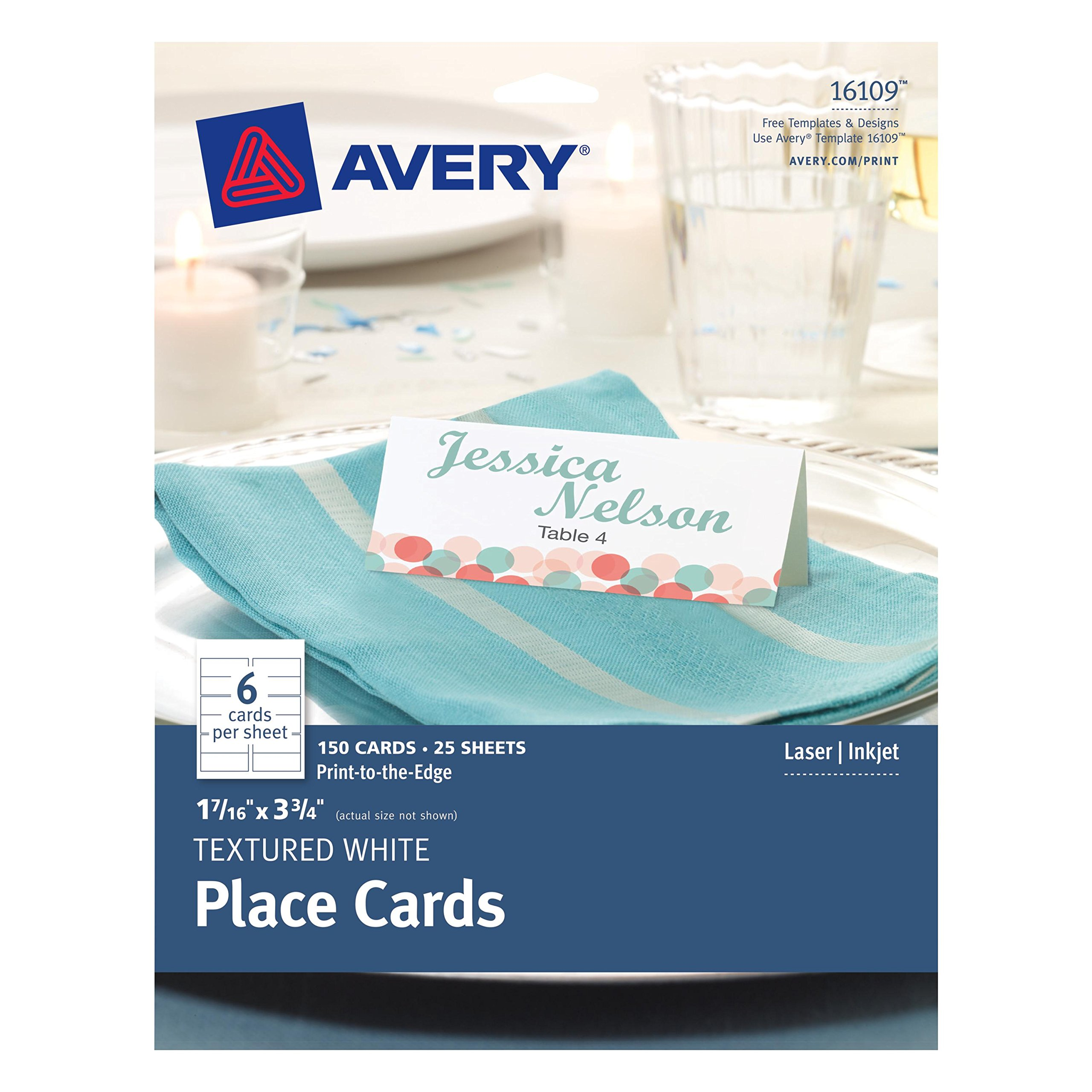 Avery Textured Place Cards, White, 1.43 x 3.75 Inches, Pack of 150 (16109)
