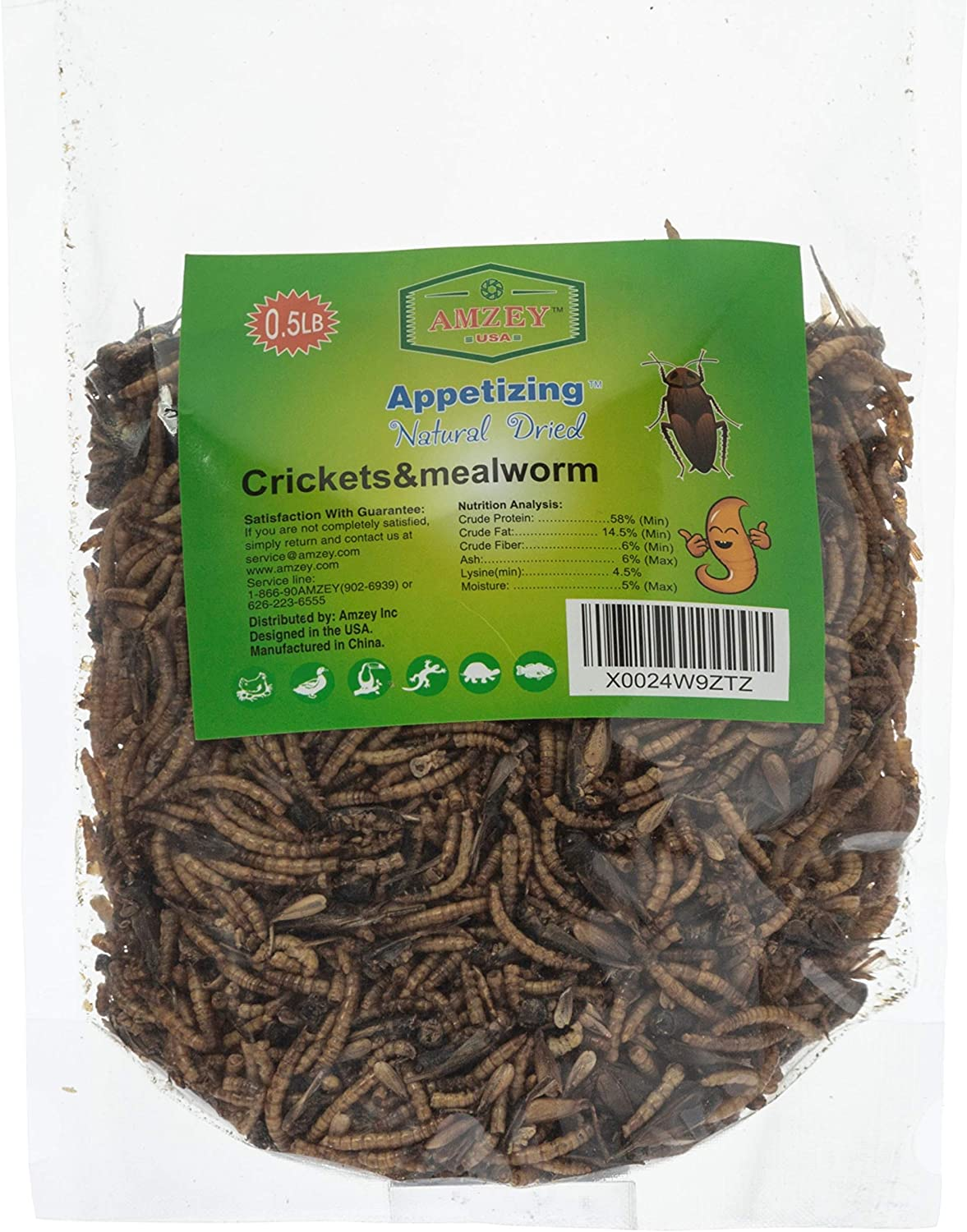 Appetizing Mealworms with Natural Dried Crickets (8oz) All Natural 100% Non-GMO, Food for Breaded Dragons, Reptiles, Chicken, Fish, Ducks, Wild Birds, Turtles, Hamsters, Fish, and Hedgehogs